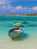 Small Fishing Boats in the Turquoise Sea  Mauritius  Indian Ocean  Africa