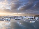 Icebergs Floating on the Jokulsarlon Glacial Lagoon at Sunset  Iceland  Polar Regions