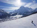 Snow-Boarder on Piste at Lech Near St Anton Am Arlberg in Winter Snow  Austrian Alps