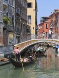 Gondola on a Canal  Venice  UNESCO World Heritage Site  Veneto  Italy  Europe