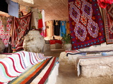 Display of Local Cloths and Carpets  Mides Oasis  Tunisia  North Africa  Africa