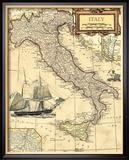 Carte d'Italie Reproduction giclée encadrée par Vision Studio
