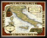 Carte des vins en Italie Reproduction giclée encadrée