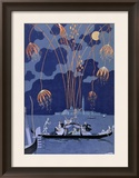 """Fireworks in Venice  Illustration for """"Fetes Galantes"""" by Paul Verlaine 1924"""