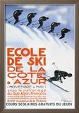 Ecole de ski de la Côte d'Azur - Affiche vintage Reproduction encadrée par Simon Garnier