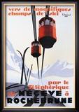 Téléphériques et skis dans la neige - Affiche vintage Reproduction encadrée par Paul Ordner