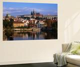 Prague Castle and Mala Strana (Small Quarter) Seen from Across Vltava River  Prague  Czech Republic