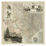 Map of Texas Reproduction d'art