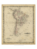 Johnson's Map of South America Reproduction d'art