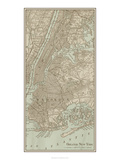Tinted Map of New York Reproduction d'art