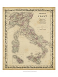 Johnson's Map of Italy Reproduction d'art