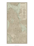 Tinted Map of Boston Reproduction d'art