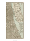 Tinted Map of Chicago Reproduction d'art