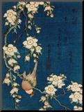 Bouvreuil sur une branche de cerisier pleureur, vers 1834 Reproduction montée par Katsushika Hokusai