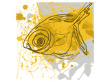 Poissons jaunes Giclée premium par Irena Orlov