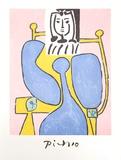 Femme Assise a la Robe Bleue