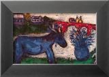 L'Ane bleu Reproduction encadrée par Marc Chagall