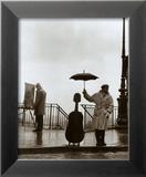 Musicien sous la pluie Reproduction encadrée par Robert Doisneau