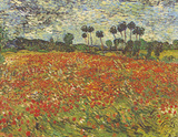 Field of Poppies Auvers-sur-Oise Reproduction d'art par Vincent Van Gogh