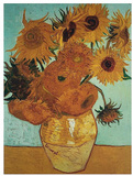 Twelve Sunflowers on Blue, c.1888 Reproduction d'art par Vincent Van Gogh