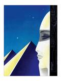 Woman and Pyramids Reproduction d'art par Frank Mcintosh