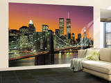 New York City Brooklyn Bridge Sunset Wall Mural