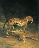 Deux léopards en train de jouer Reproduction d'art par Jacques-Laurent Agasse