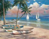 Three Boats On Beach