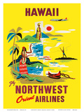 Northwest Orient Airlines, Hawaii c.1960s Reproduction d'art