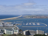 View of Chesil Beach from the Hilltop of the Isle of Portland  Dorset  England  United Kingdom  Eur