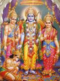 Picture of Hindu Gods Laksman  Rama  Sita and Hanuman  India  Asia