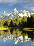 Reflections of Grand Teton Mountain in the Snake River