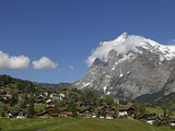 Grindelwald and Wetterhorn  Bernese Oberland  Swiss Alps  Switzerland  Europe