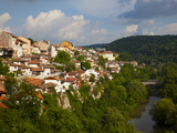 Stormy Weather at Dusk over Hillside Houses Above the Yantra River  Veliko Tarnovo  Bulgaria  Europ