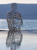 Sculpture of a Man Made of Letters at the Lido Mar Swimming Pool at the Newly Developed Marina in P