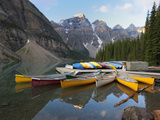 Canoes Moored on Moraine Lake  Banff National Park  UNESCO World Heritage Site  Alberta  Rocky Moun