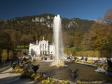 Linderhof Castle with Fountain in Pond and Alps Behind  Bavaria  Germany  Europe