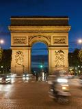 Traffic around Arc De Triomphe  Avenue Des Champs Elysees  Paris  France  Europe