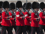Scots Guards Marching Past Buckingham Palace  Rehearsal for Trooping the Colour  London  England  U