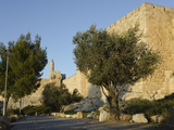View at Sunset of the City Walls Promenade with Tower of David in Background  Old City  Jerusalem