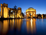 Palace of Fine Arts Illuminated at Night  San Francisco  California  United States of America  Nort