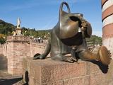 Sculpture at the Alte Brucke (Old Bridge) in Old Town  Heidelberg  Baden-Wurttemberg  Germany  Euro