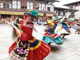 Monks Performing Traditional Black Hat Dance at the Wangdue Phodrang Tsechu  Wangdue Phodrang Dzong