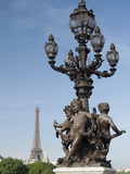 Lamp on the Alexandre Iii Bridge and the Eiffel Tower  Paris  France  Europe