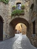 Street Scene in Old Town  Pals  Costa Brava  Catalonia  Spain  Europe