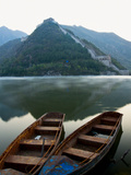 Two Boats on Jintang Lake Beside Great Wall of China  UNESCO World Heritage Site  Huanghuacheng (Ye