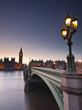 Looking across the River Thames Towards the Houses of Parliament and Westminster Bridge  London  En
