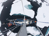 Sv Arctica Picking its Way Through Sea Ice in Hinlopen Strait  Nordaustlandet  Svalbard  Norway