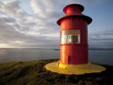 Lighthouse on Bluff Above Stykkisholmer  Iceland