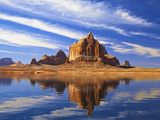 Mesas and Buttes Reflect into Lake Powell in Utah  Usa